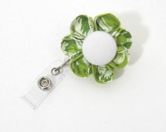 Green & White  Badge Reel, Retractable ID Holder, Badge Holder, ID Badge, Lanyard, Flower Badge Reel, Flower ID Holder, Nurse-Two Styles