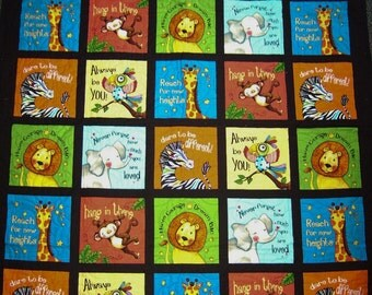 """Elizabeth Studios """"Think Positive Animals & Words"""" Handmade Patchwork Panels Quilt-Made in USA by MJ Quilts-Free Shipping in USA"""