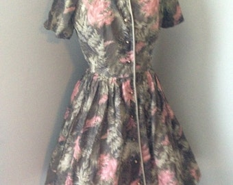 Vintage 1950's Watercolor Print Cotton Full Skirt Dress