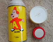 Vintage Alvin and Chipmunks Metal Thermos by Holtemp Thermos, Metal Thermos
