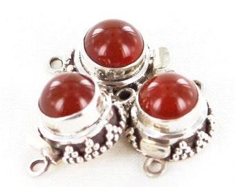 Carnelian Clasp Round 10mm Granulated New World Gems
