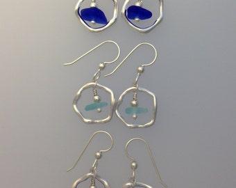 Sea Glass Earrings in Sterling Silver handmade. Whimsy Rings