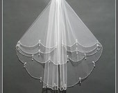Bridal Veil Comb, Elbow Length Bridal Veil, Two Tier Bridal Veil, Bridal Veil Fingertip, Wedding Veil With Crystals
