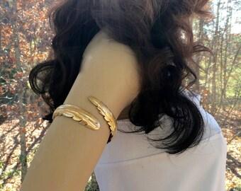 Gold Cuff Bracelet, Wire Cuff Bracelet, Upper Arm Bracelet,Upper Arm Cuff, Bridal Gold Cuff, Bridal Gold Bracelet