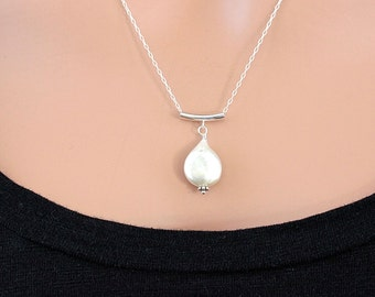 Floating Pearl Necklace, Teardrop Pearl Pendant Necklace, Natural Pearl Necklace, Silver Chain Necklace, Freshwater Pearl Jewelry for Women