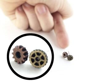 Mismatch Stud Earrings - Men Piercing - Women Steampunk Cosplay - Steampunk Clothing Men - Small Earrings - Tiny Stud Earrings - Wasteland
