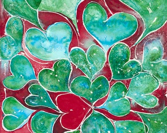 Turquoise Hearts ORIGINAL WATERCOLOR Oversized Wall art Red Turquoise Green love watercolour 14x21