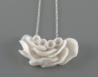 White Flower Statement Pendant  Necklace  , Sterling Silver  and  Porcelain  Il De Re , Ceramic Handmade Jewelry Necklaces ,Gift for her