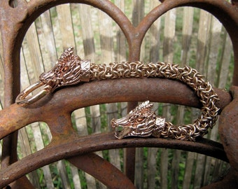 Bronze Chainmaille Dragon Bracelet