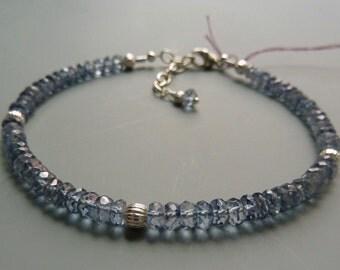 Gemstone Stacking Bracelet, Iolite Bracelet, Blue Gemstone Layering Bracelet, Delicate Bracelet, Silver Stacking Bracelet, Gift For Her