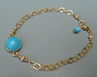 Gemstone Stacking Bracelet, Turquoise Bracelet, Gemstone Layering Bracelet, Delicate Bracelet, Gold Stacking Bracelet, December Birthstone