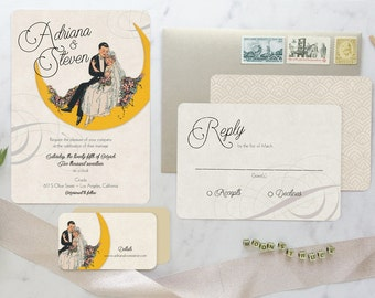 Wedding invitation Suite, Paper Moon Wedding, Wedding Invitation, Moon Wedding, Art Deco Wedding Invitation Set, Boho Wedding Invitation