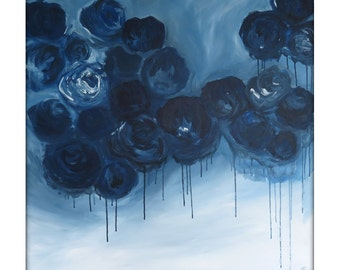Large Abstract Original Flower Painting on Canvas Modern Acrylic Painting - 36x36 -Navy, Blue, Blue-Gray, White