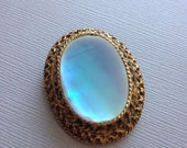 Vintage Gold Mother of Pearl Shell Brooch