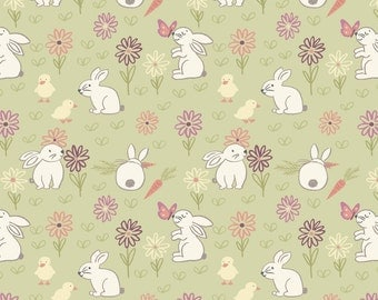 Bunny Adventure on Pale Green from The Bunny Garden line for Lewis and Irene - Full or Half Yard Bunnies and Chicks with Flowers Butterflies