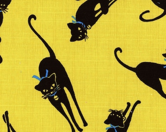 Black Cat from Cosmo Textiles - Full or Half Yard Dobby Cloth Black Cats on Chartreuse