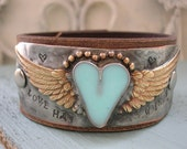 RESERVED for JENI Winged heart leather cuff bracelet - Love Has Wings - Angel wings bohemian, romantic western country cowgirl sky blue boho