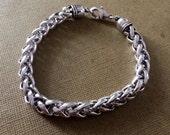 Silver chain bracelet,Foxtail Chain Bracelet,Wheat chain bracelet,Men's Silver bracelet,silver Jewelry,stackable bracelet by Taneesi