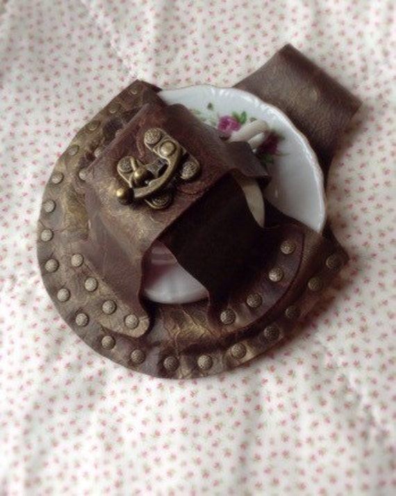 Steampunk Tea Cup Leather Holster Tea Dueling Holder