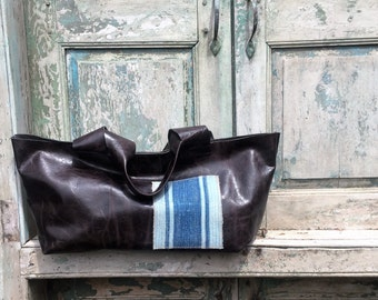 Handmade Black Leather French Market Bag Tote