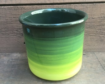 Ceramic Crock or Utensil Holder - Large - Green Ombre Colorful Gradient Design - Shades of Greens - Lime - Apple - Wintergreen - Hunter