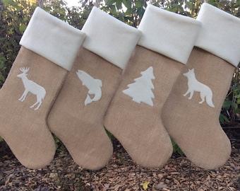 Family Stockings, Custom Burlap Stockings, Burlap Christmas Stockings Set of Four