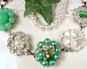 OOAK Emerald Green & Ivory Pearl Rhinestone Vintage Earring Bracelet Silver Green Bridesmaid Bracelet Romantic Wedding Bridal Retro Upcycled