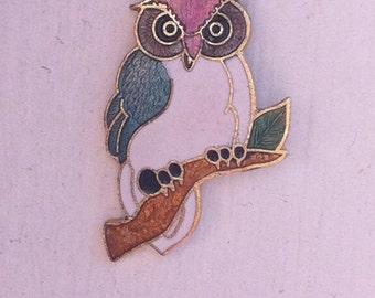 Vintage Owl Cloisonne Necklace