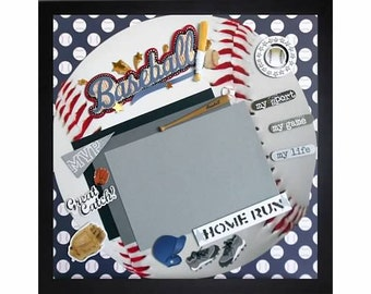 HOME RUN Premade Memory Album Page (Gallery Wood Box Frame Sold Separately)