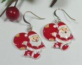 Santa Claus Earrings, Santa Claus Dangly Earrings, Christmas Jewelry, Christmas Earrings, Red and White Xmas Earrings, Old Saint Nicholas