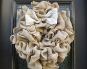 Burlap Valentines Day Wreath, Cottage Chic Valentines Wreath, Burlap Door Wreath, Spring Burlap Wreath