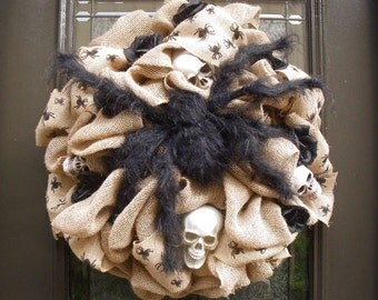 Spider Halloween Wreath, Spider Wreath, Halloween Burlap Wreath, Halloween Wreath, Fall Wreath