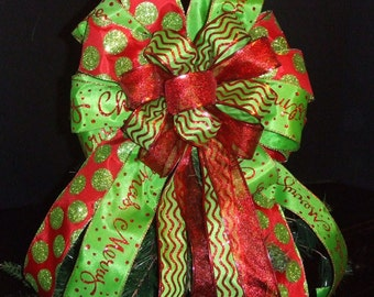 Christmas Bow Topper, Red and Lime Tree Topper, Mantel Bows, Christmas Decoration, Merry Lime Dots