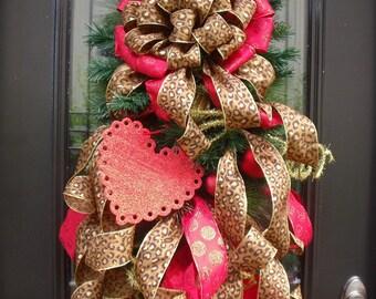 Leopard Valentine Swag, Valentines Day Wreath, Valentine Door Wreath, Flirty Leopard Swag, Wild Heart
