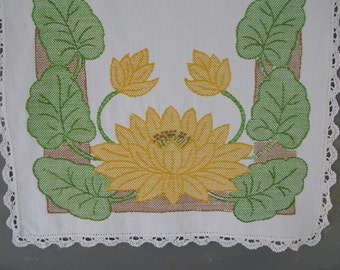 Vintage Embroidered Dresser Scarf, runner, embroidered, floral, yellow, cotton, white