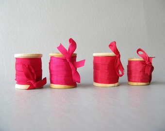 Silk Ribbon on Wood Spools, Wood spools, red, pink