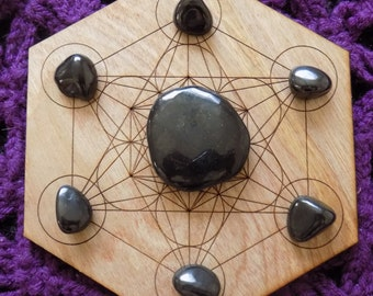 Russian Shungite Crystal Pocket Stone Polished and Six Tumbled Stones Crystals Grid Set Bundle Puffy Heart Option