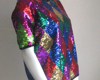 80s vintage sequins designer fun top