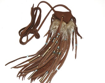 Coyote fur and deer skin neck pouch medicine bag totem mountain man