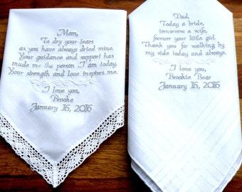 Wedding Gift Ideas Embroidered : Embroidered Wedding Handkerchiefs Set of Two Mom & Dad Wedding Gift ...