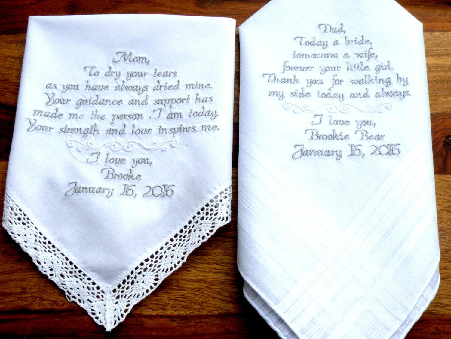Wedding Gifts For Parents Handkerchief : Embroidered Wedding Handkerchiefs Set of Two Mom & Dad Wedding