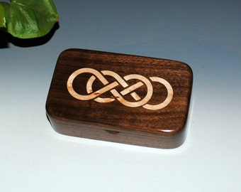 Walnut Wood Treasure Box With Inlaid Maple Double Infinity Symbol - Handmade Wooden Box by BurlWoodBox, Wood Jewelry Box, Small Wood Box,Box