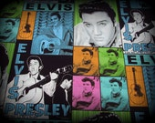 Elvis Fabric, Elvis Presley, Cotton Fabric, Elvis Collage Fabric, 18 in x 44 Wide, Elvis Quilt Fabric, Young Elvis Fabric, Elvis Picture Fab