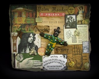 Palm Reader Card, Halloween Gypsy Card, Gypsy Note Card, Gypsy Greeting Card, Fortune Teller Card, #88, Ouija, Collage Card, Black Card