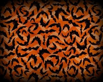 Halloween Bat Fabric, Flying Bat Fabric, Half Yard, Black and Orange, Halloween Fabric, Halloween Material, Spooky Bats, Chevron Fabric, Cot