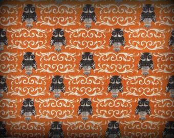 Owl Fabric, Halloween Owls, Orange Fabric, Half Yard, Black and Orange, Halloween Fabric, Hoot Owl, Black and White, Halloween Owl, Cotton