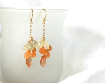 Orange Ombre Multi Stone Earrings