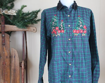 Ugly Christmas Sweater Party Blouse Vintage Holiday Shirt Plaid Trees Small Medium