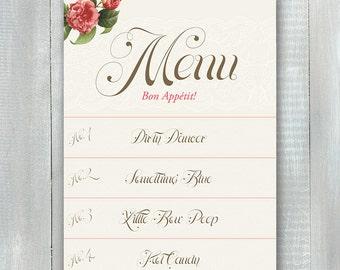 Floral Lingerie Shower Menu PDF
