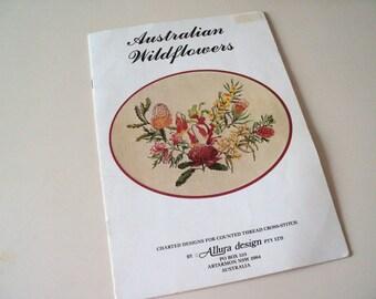 Vintage Australian Wildflowers Cross Stitch Charted Designs Book 1984 by Allura Design